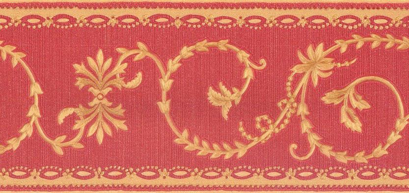 Stil tapete klassische tapeten fleur de lys rot gold mit for Tapeten borte