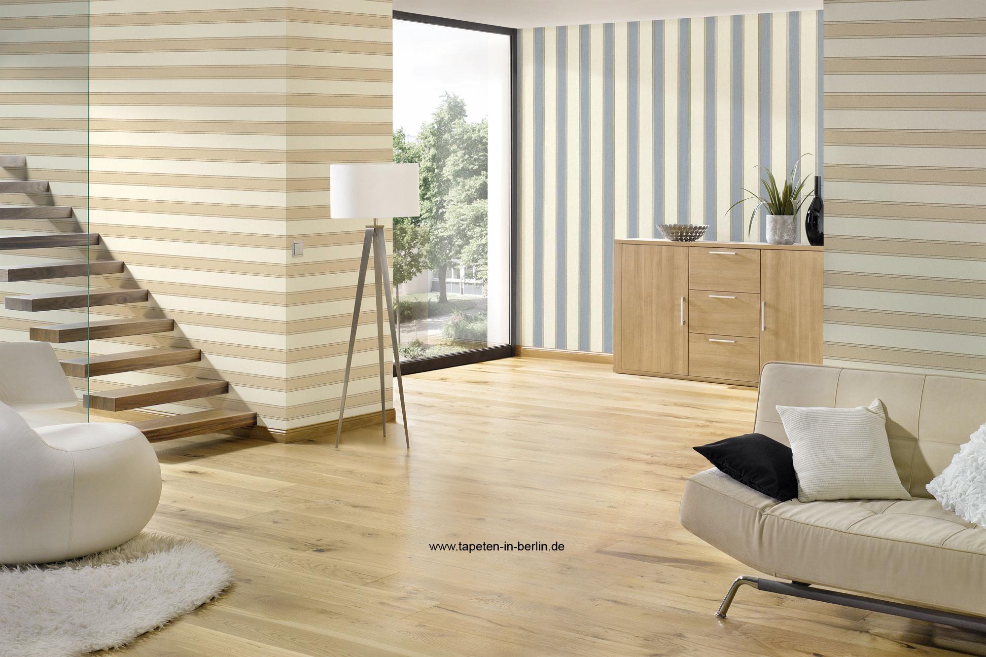cream striped wallpaper living room