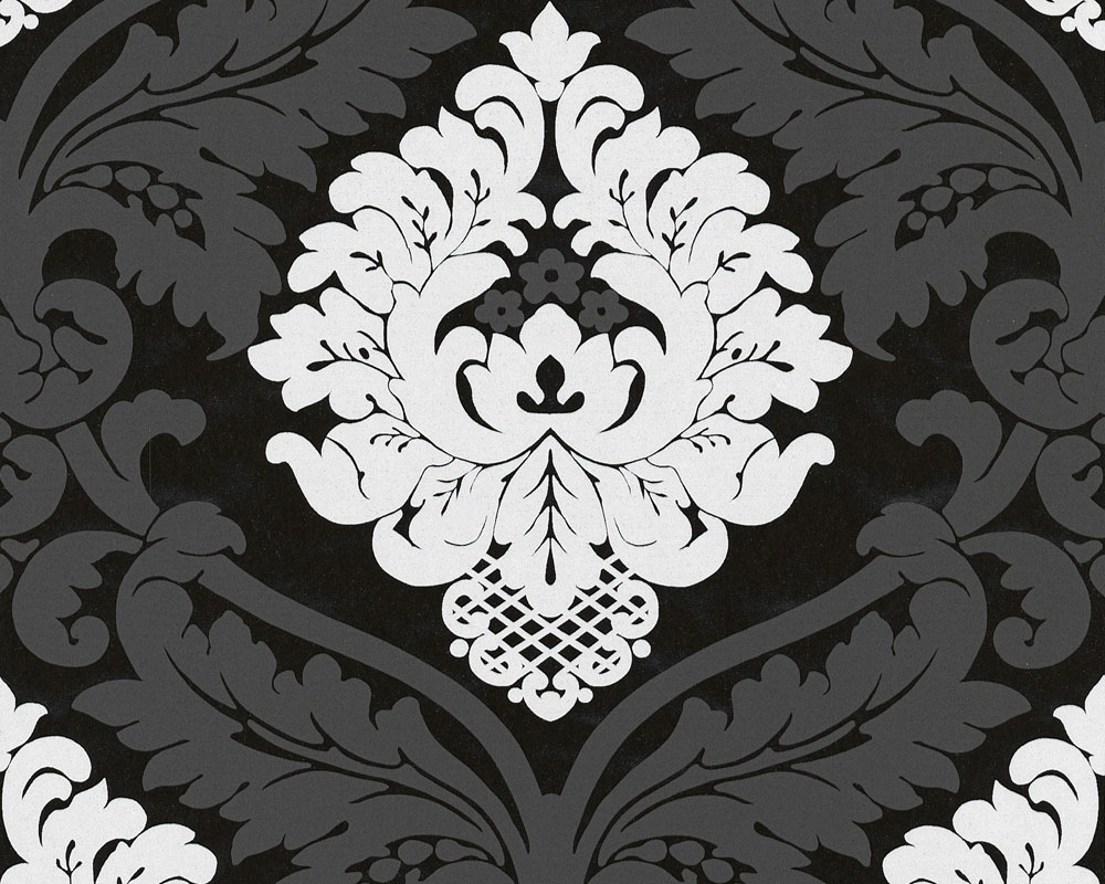 Muster Tapeten Schwarz Wei? : Black & White Damask Wallpaper